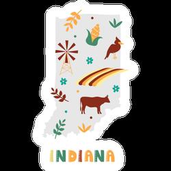 Indiana State Symbols Cartoon Sticker