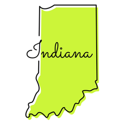 Indiana - Usa State Map Lettering Sticker