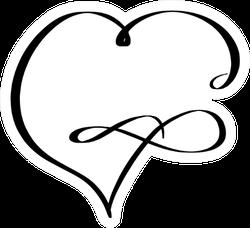 Infinity Heart Illustration In Line Art Style Sticker