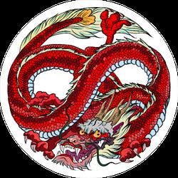 Infinity Red Dragon Circle Sticker