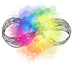 Infinity Sign With A Boho Pattern And Rainbow Watercolor Sticker