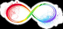 Infinity Symbol Painted Bright Rainbow Sticker