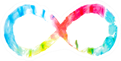 Infinity Symbol With Watercolor Primary Color Gradient Sticker