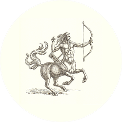 Ink And Pen Drawing, Centaur Archer Sticker