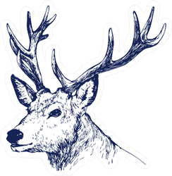 Ink Style Deer Head With Antlers Sticker
