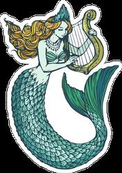 Inked Mermaid With Harp Sticker