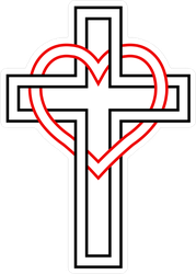 Intertwining The Heart And Christian Cross Sticker