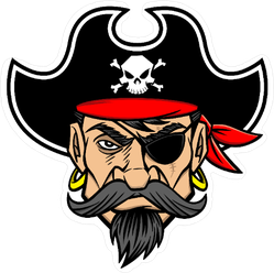 Intimidating Pirate Mascot Cartoon Sticker