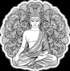 Intricate Sitting Buddha With Mandala Sticker