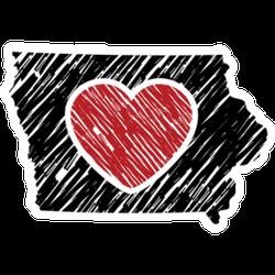 Iowa Map And Heart Logo Sticker