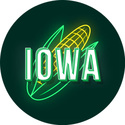 Iowa Old School Style Neon Corn Sticker