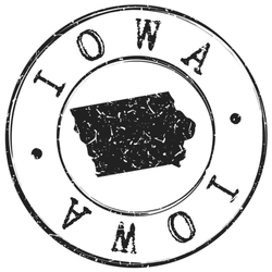 Iowa Silhouette Postal Passport Stamp Sticker