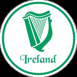 Ireland Emblem With Celtic Harp Circle Sticker