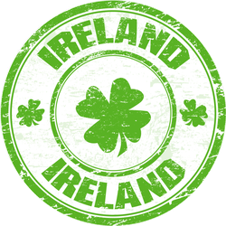 Ireland Four Leaf Clovers Grunge Stamp Sticker