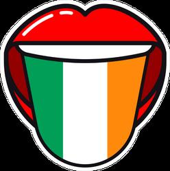 Irish Language Tongue With Flag Sticker
