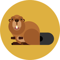 Isolated Beaver Icon In Modern Style On Yellow Sticker
