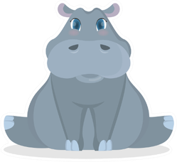 Isolated Cute Baby Hippo Cartoon Sticker