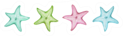 Isolated Cute Watercolor Starfish Set Sticker