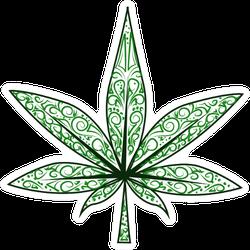 Isolated Decorative Marijuana Leaf Sticker