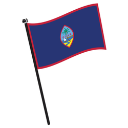 Isolated Flag Of Guam On A Pole Sticker