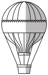 Isolated Hot Air Balloon Black and White Sticker