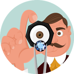Isolated Jeweler Looking On The Diamond In His Hand Cartoon Sticker