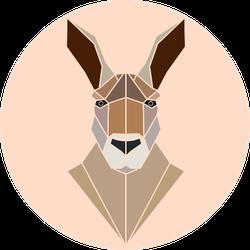 Isolated Kangaroo Portrait Geometric Style Sticker