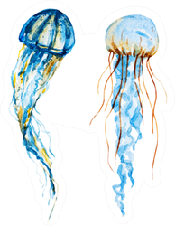 Isolated Watercolor Jellyfish, Marine Life Sticker