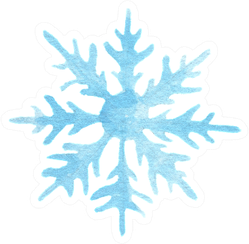 Isolated Watercolor Snowflake Sticker