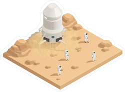 Isometric Space Exploration Mission Sticker