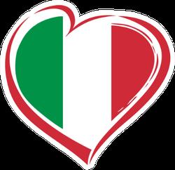 Italian Flag Heart Sticker