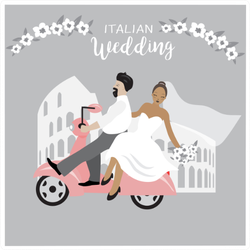 Italian Wedding With Colosseum And Scooter Sticker