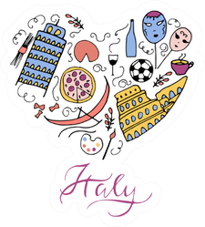 Italy Doodle Heart Sticker