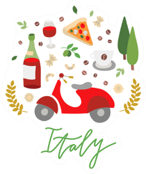 Italy Elements Doodles Sticker