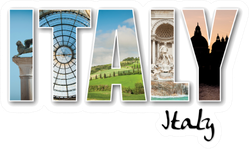 Italy Famous Locations Lettering Sticker