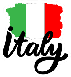 Italy Lettering With Italian Flag Sticker