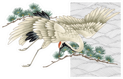Japanese Crane Beautiful Illustration Sticker