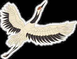 Japanese Crane Bird Isolated On A White Sticker