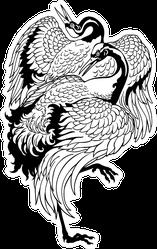Japanese Crane Dancing Two Birds Tattoo Sticker