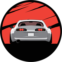 Japanese JDM Car With Red Sun Background Sticker