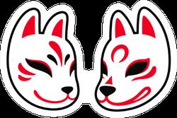 Japanese Kitsune Fox And Wolf Mask Sticker