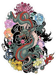 Japanese Old Dragon Sticker