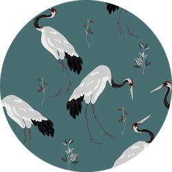 Japanese Red-headed Cranes Dancing On Teal Background Sticker