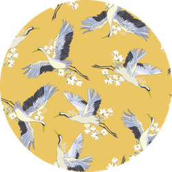 Japanese Seamless Pattern Of Birds And Water On Yellow Sticker