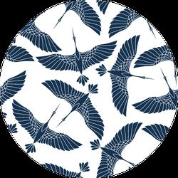 Japanese Seamless Pattern With Beautiful Cranes Sticker