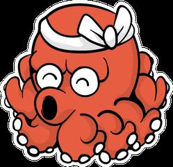 Japanese Squid Illustration Sticker