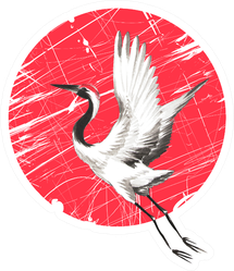 Japanese Watercolor Crane Bird On A Red Circle Sticker