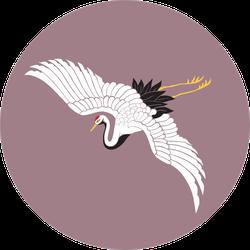 Japanese White Crane On Mauve Background Sticker