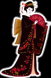 Japanese Woman In A Kimono Sticker