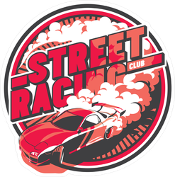 JDM Street Racing Club Burnout Car Circle Sticker
